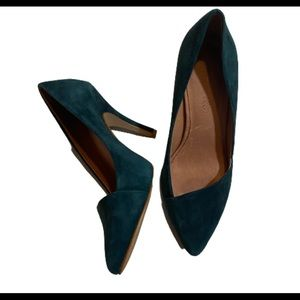 Madewell The Mira Gallery Green Suede Pumps